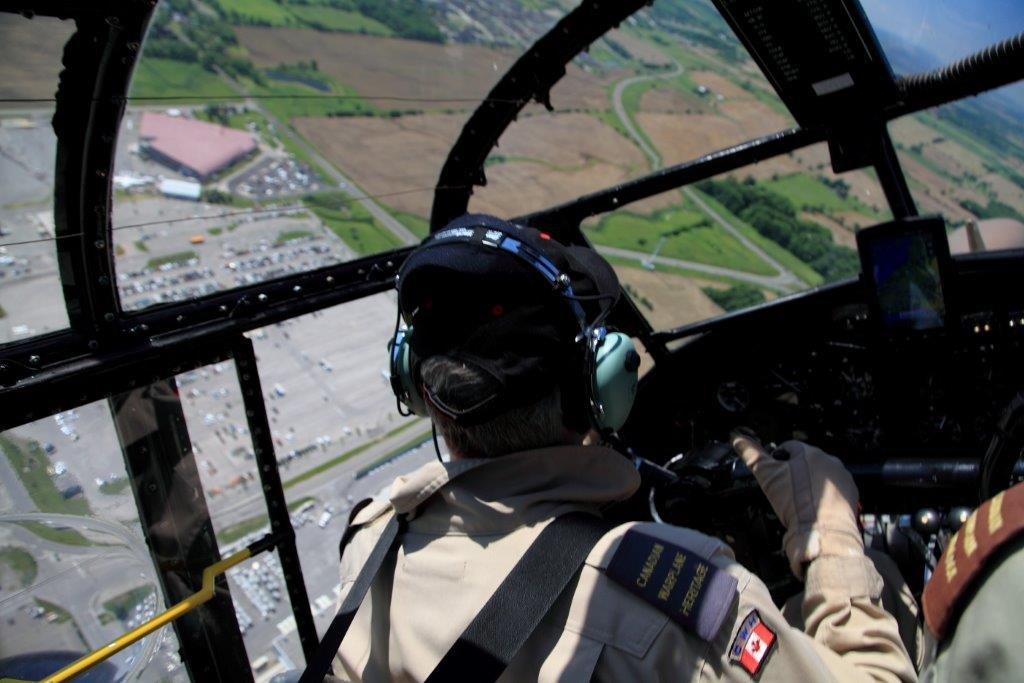 Pilot flying plane