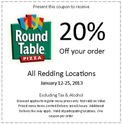Round Table Pizza VisitReddingcom - Round table pizza coupons 25 off