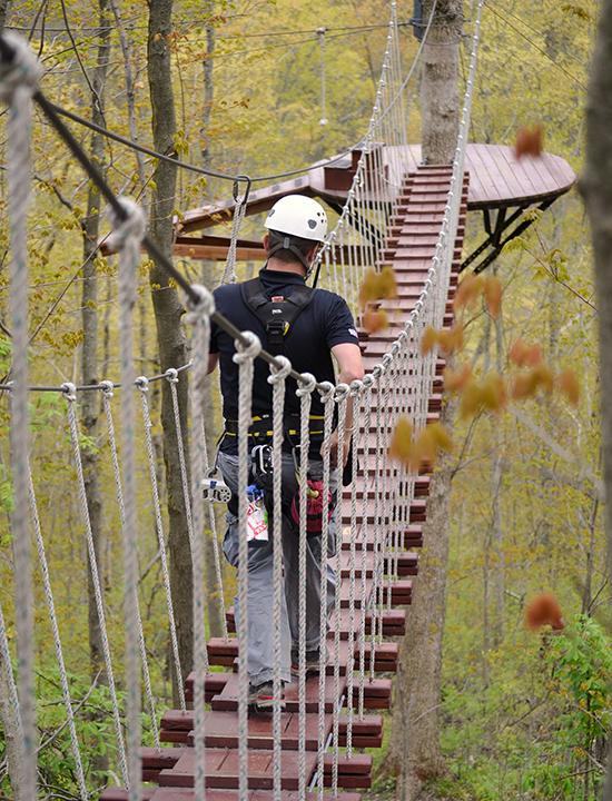 Rope bridge at Ozone Zipline Adventures